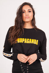 Sweat crop top bandes Propaganda noir