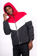 Colour-Block Hooded Puffer Jacket Black Red White