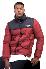 Colour-Block Logo Puffer Jacket Black Red