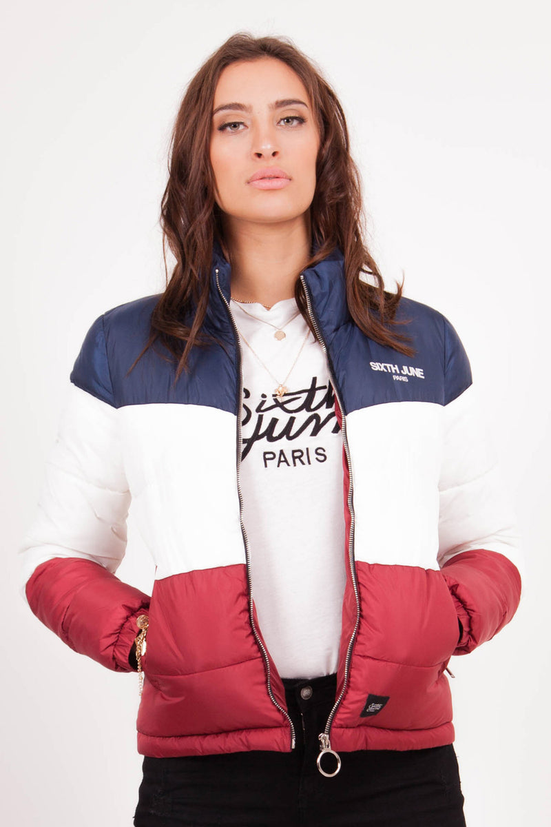 Colour-Block Logo Puffer Jacket Blue White Red