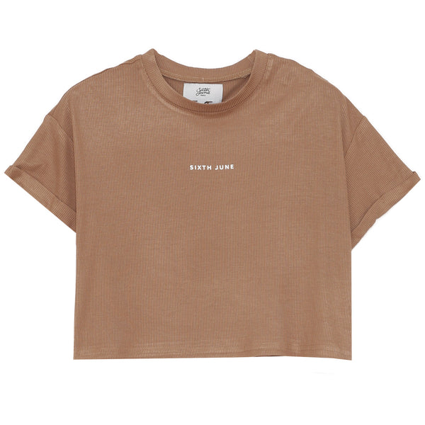 Logo court top beige