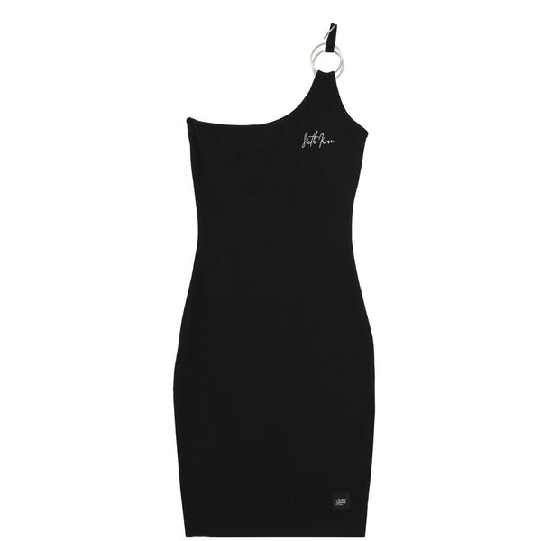 Asymmetric logo dress black