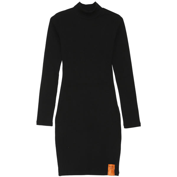 Orange Logo Long Sleeves Dress Black