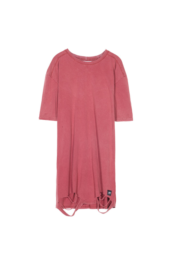 Robe t-shirt destroy bordeaux