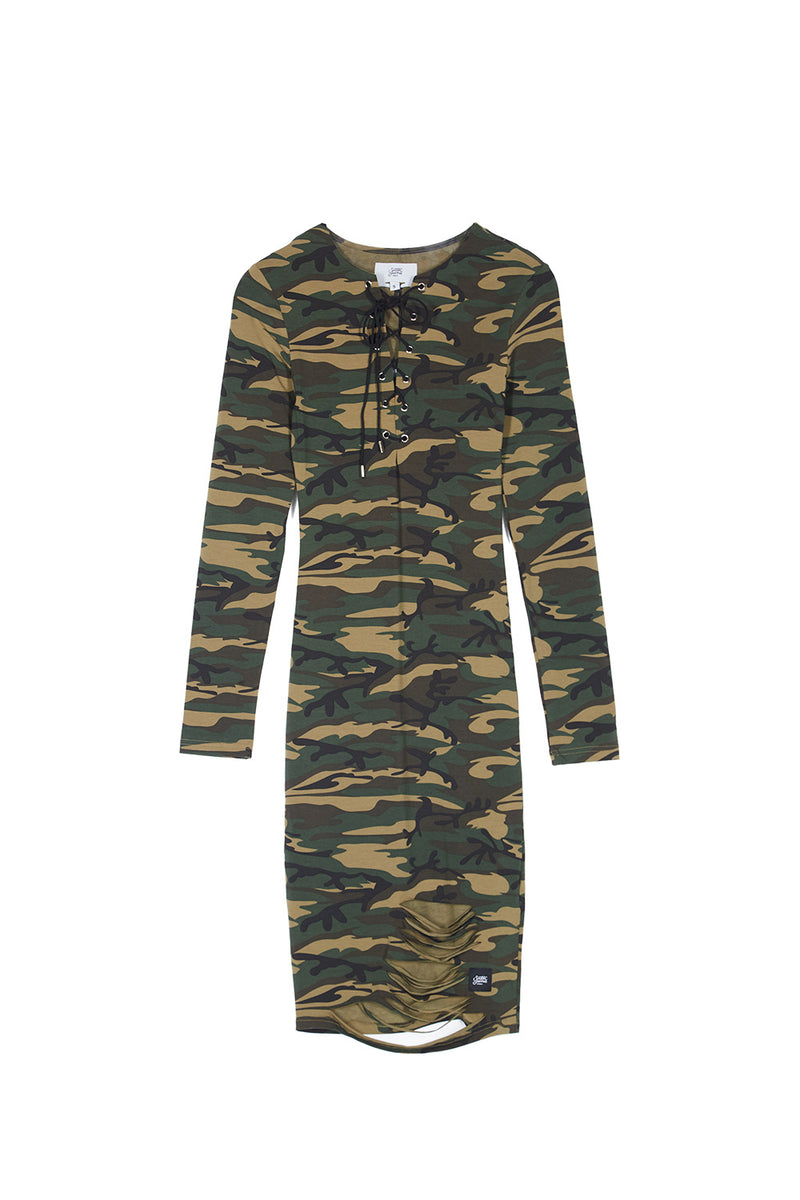 CAMO DRESS LONG SLEEVES WITH LACES