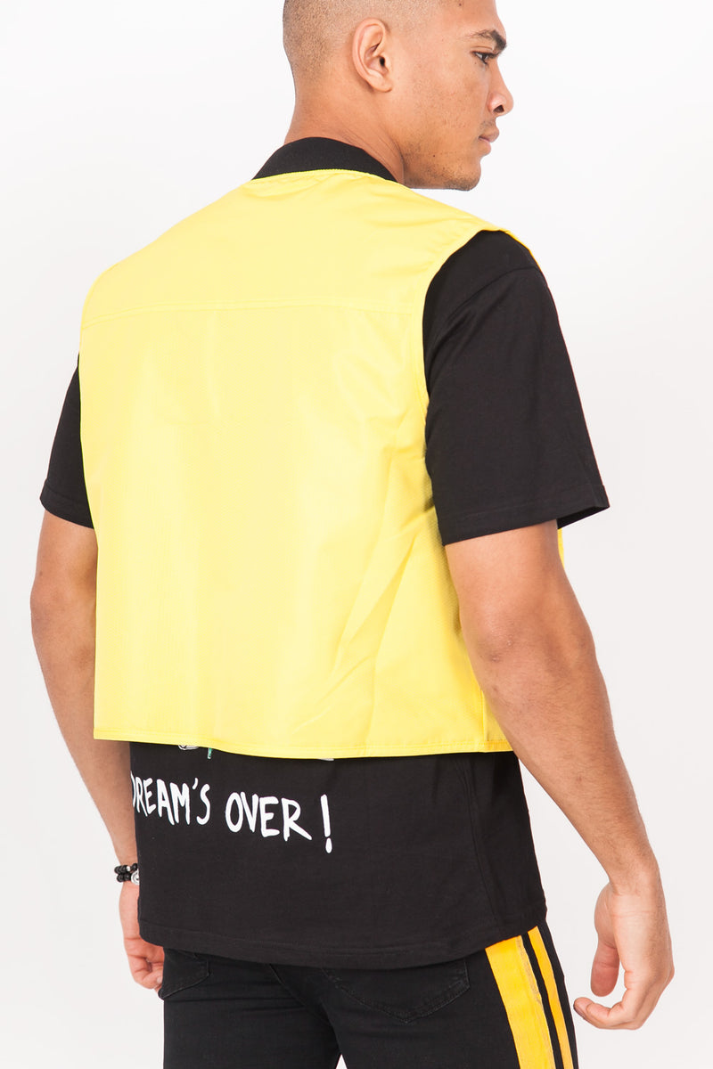 Gilet multipoches court jaune