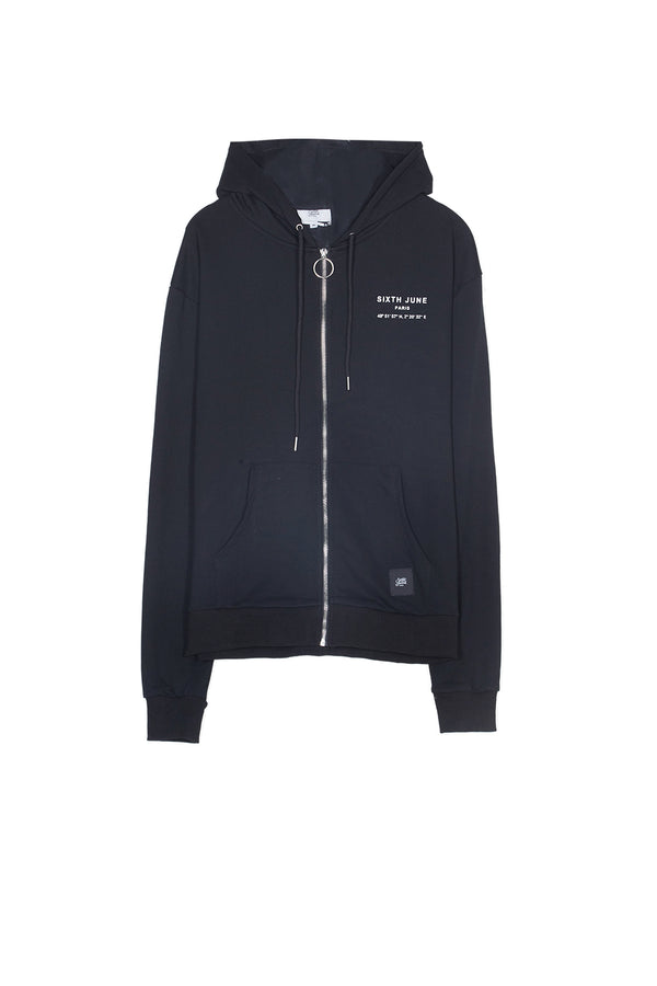 Sweat capuche Paris GPS zippé noir