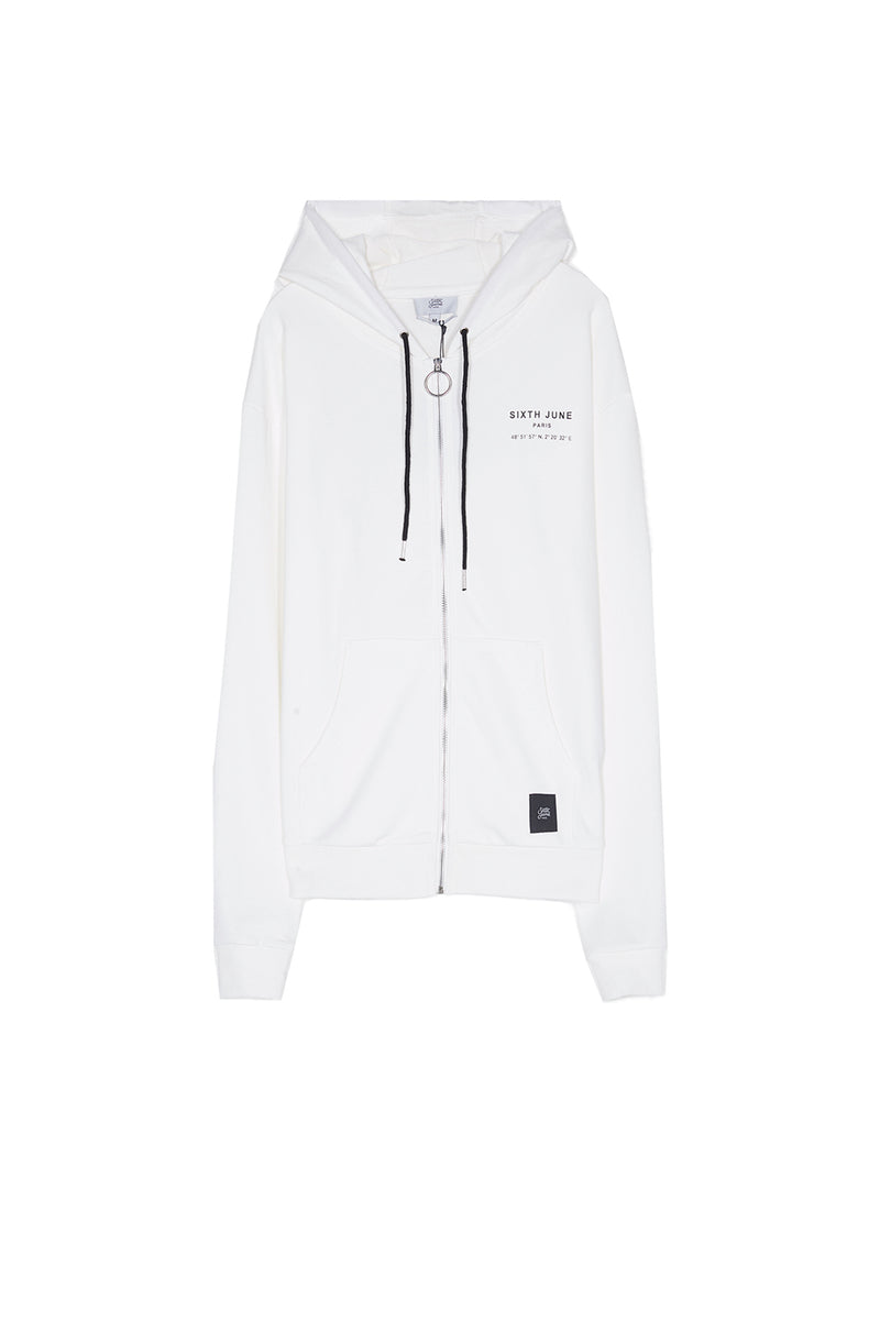 Sweat capuche Paris GPS zippé blanc