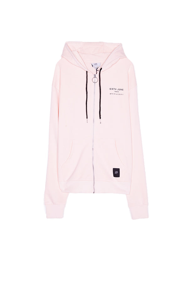 Sweat capuche Paris GPS zippé rose