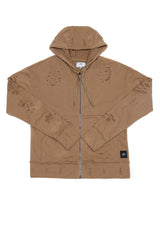 Sweat-shirt biker destroy beige M2414VJA