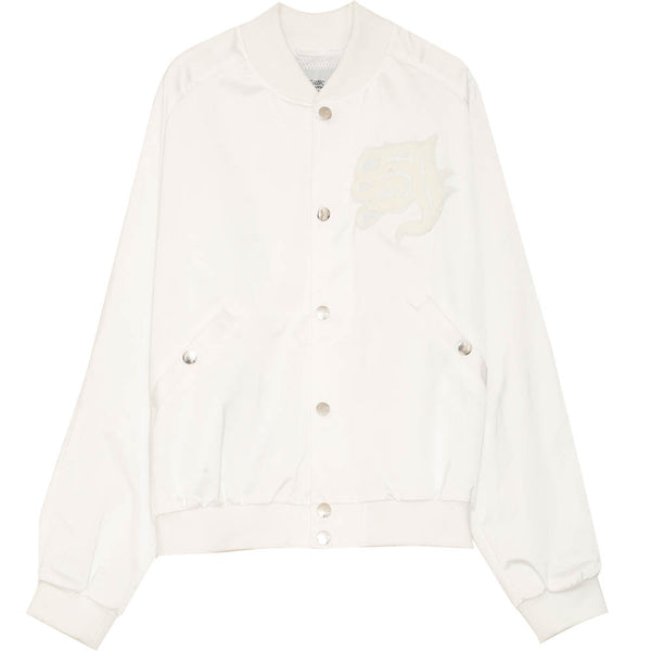 Blouson Teddy patch blanc