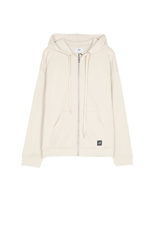Sweat capuche large zippé beige