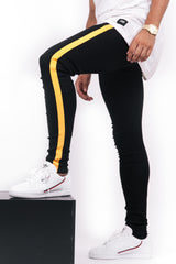 Yellow Side Stripe Jeans Black