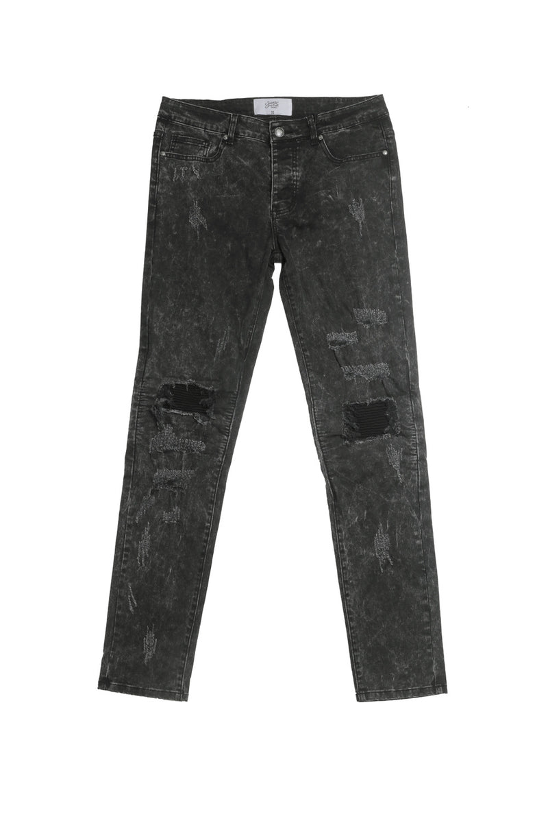 Jean biker Sixth June destroy noir acid M2244EDE
