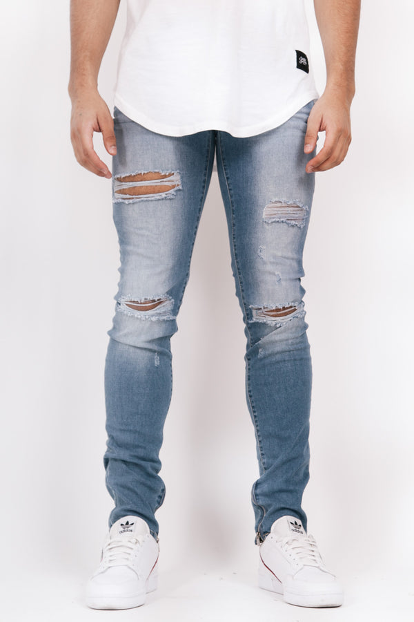Denim ankle zipper blue M2455HDE