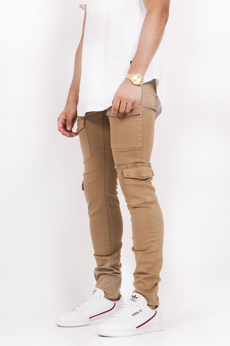 Denim cargo pockets sand