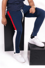 tricolor white red joggers blue