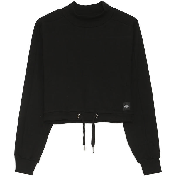Drawstring High Collar Pull Black