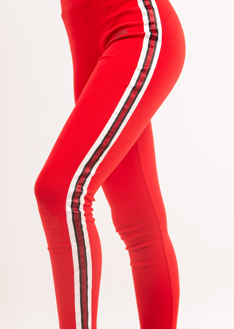 Legging bande tricolore rouge