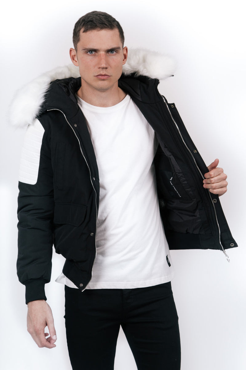 Short Biker Faux-Fur Coat Black White