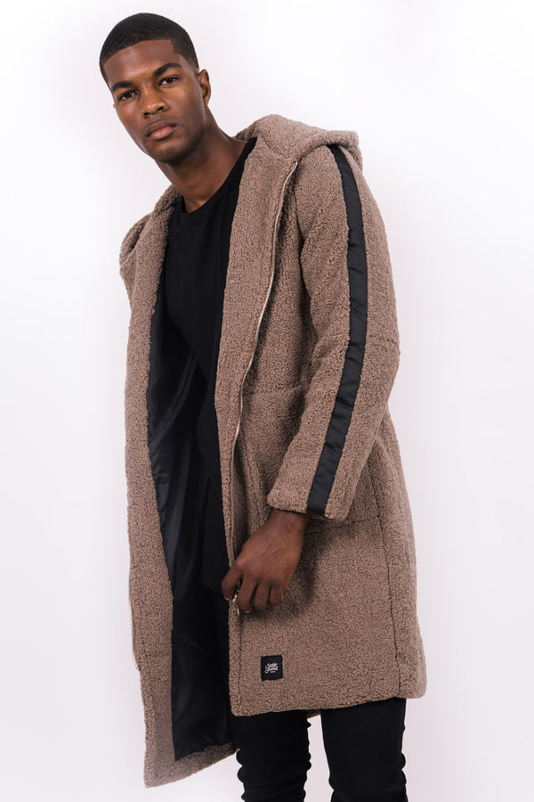 Manteau long bandes sherpa marron noir