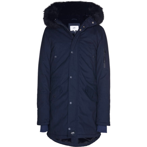 parka made in a thick twill fabric with fur on hood