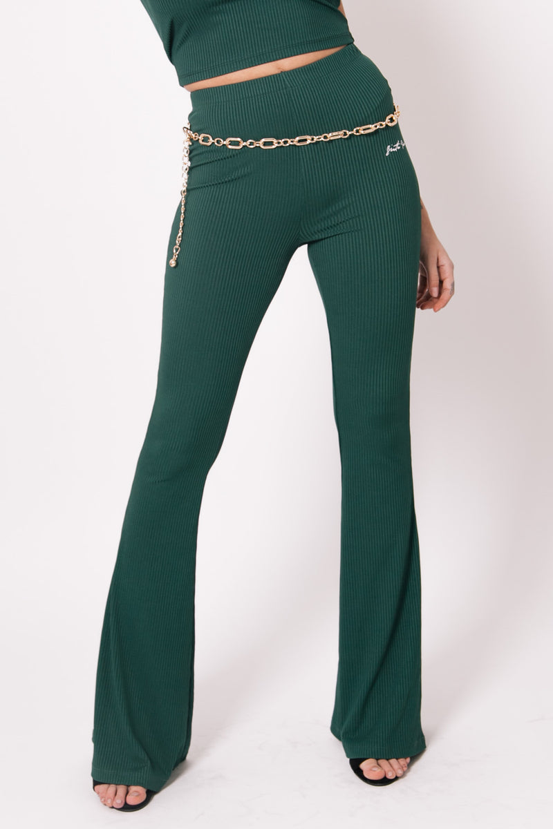 Signature Logo Flare Trousers Green