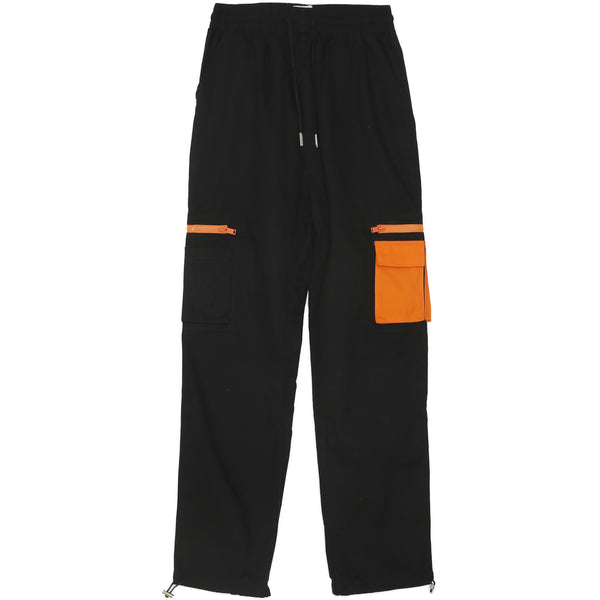 Pantalon cargo empiècement orange noir