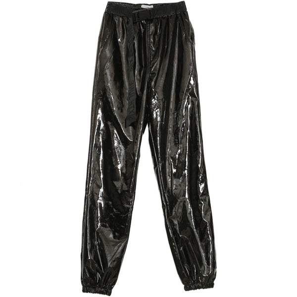 Buckle Vinyle Pants Black
