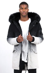 Parka laine tie and dye large fourrure noir gris