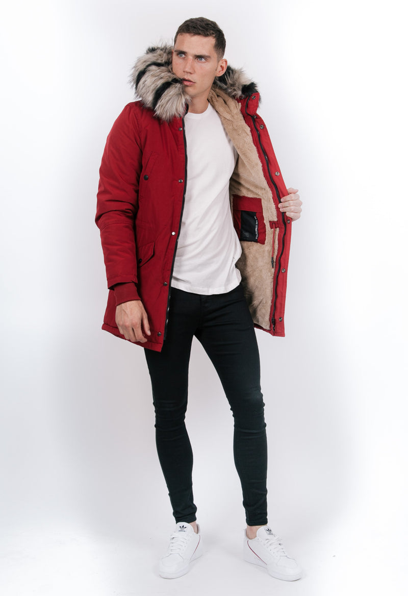 Two-Coloured Fur Parka Red Beige