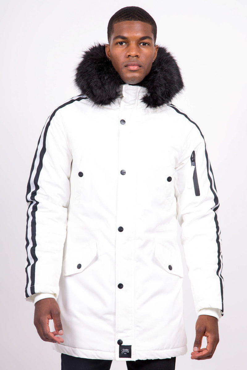 Parka Sleeve Taping White Black