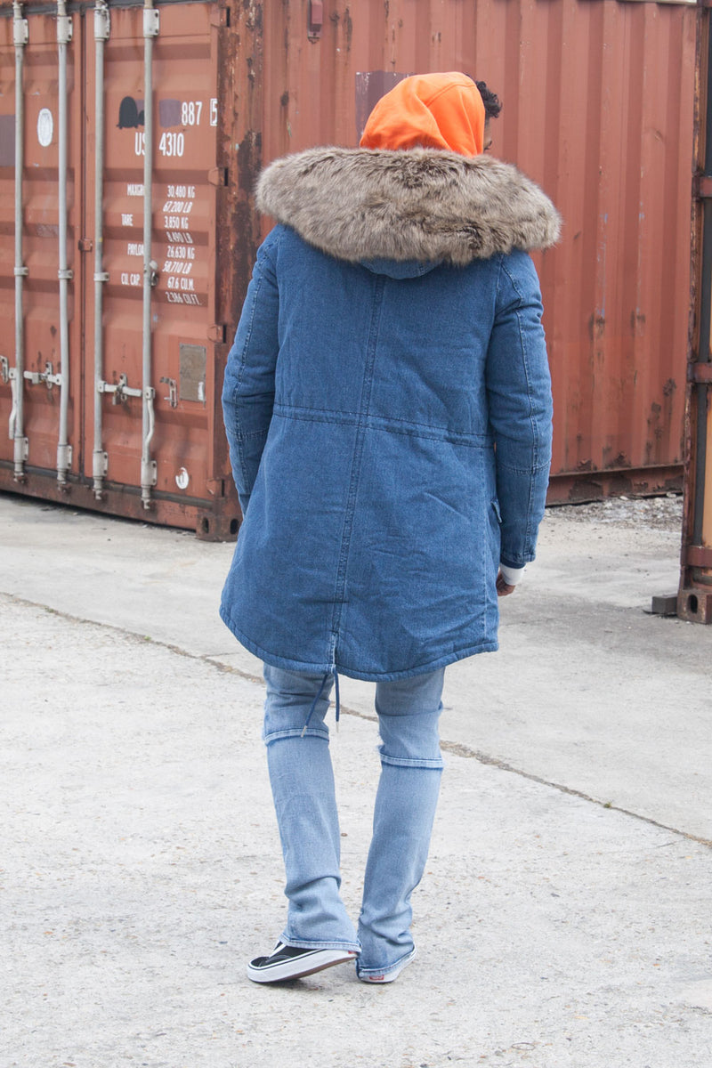 Parka jean denim large fourrure bleu beige