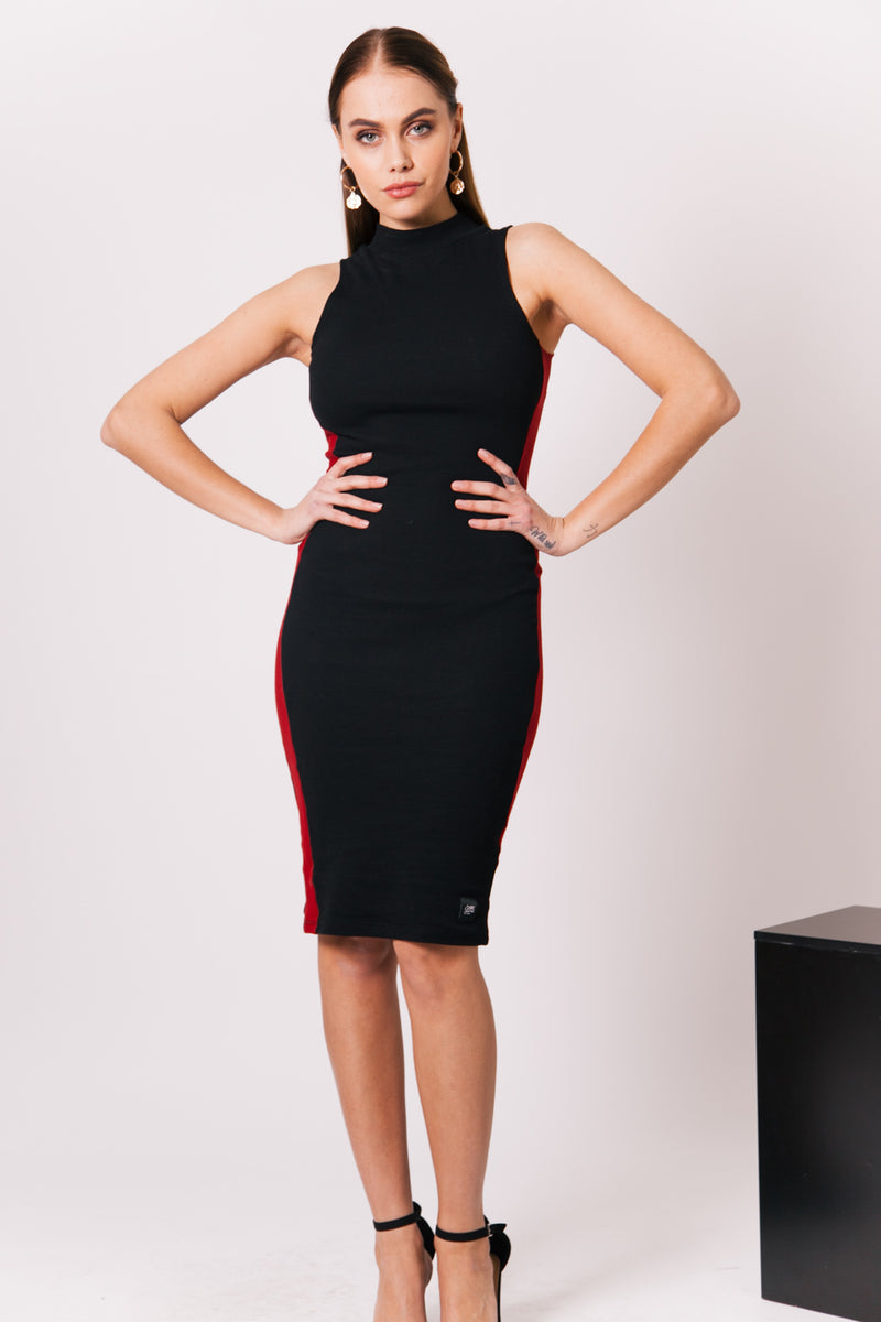 Ribbed Bodycon Dress Black Red