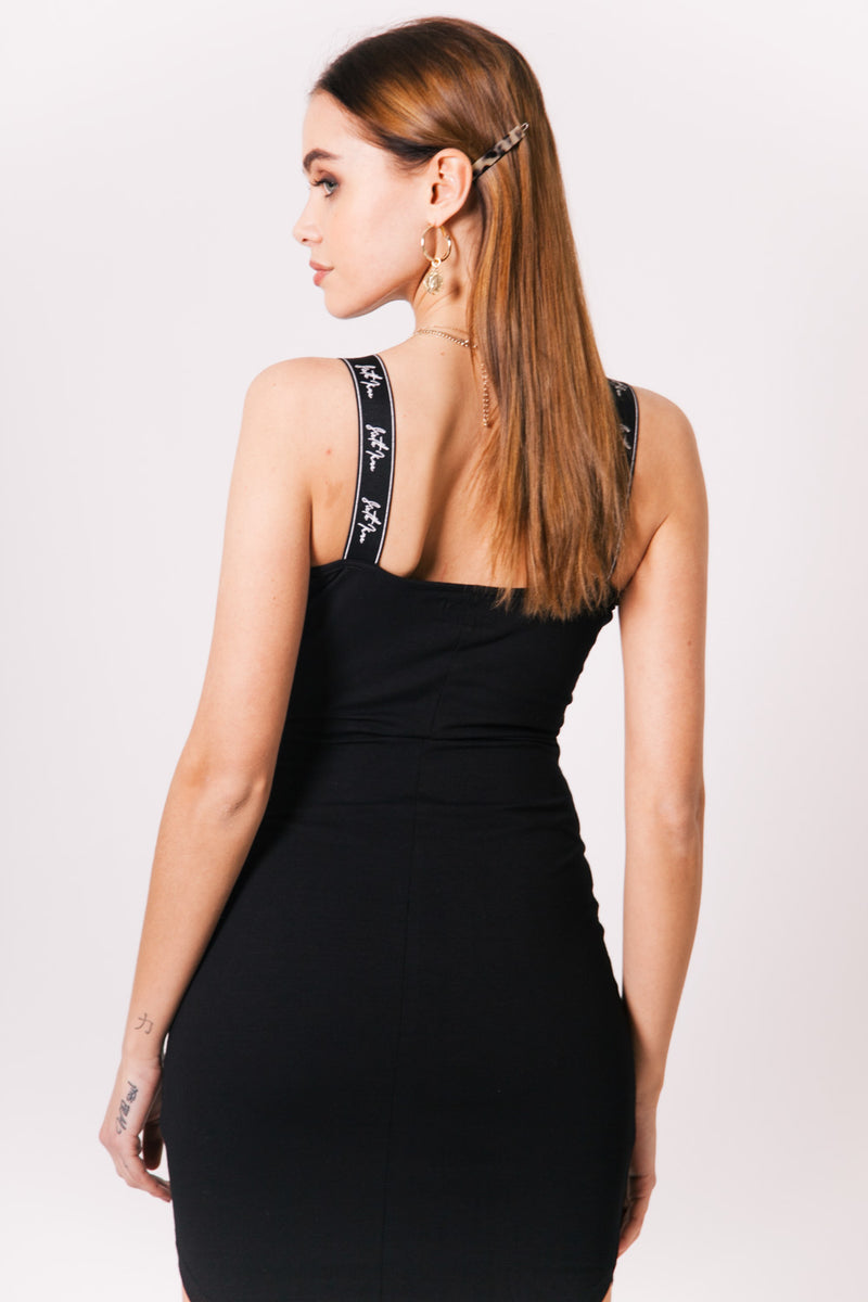 Logo Straps Bodycon Dress Black