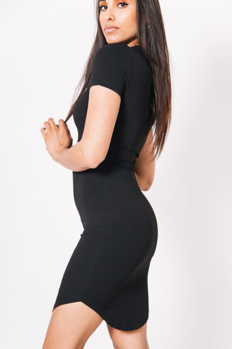 Logo Bodycon Dress Black