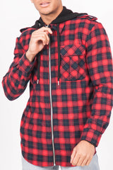 Chemise carreaux capuche Sixth June rouge