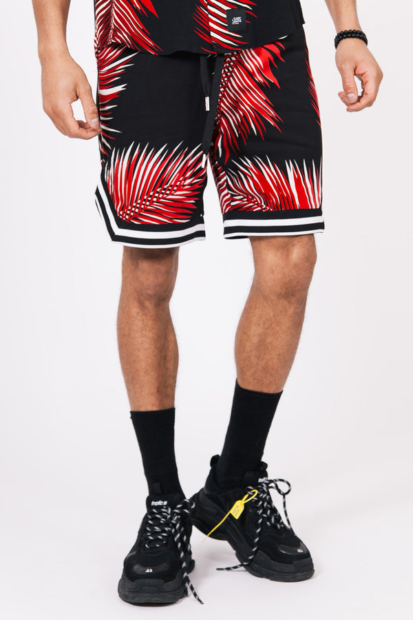 Palm Leaves Shorts Black Red