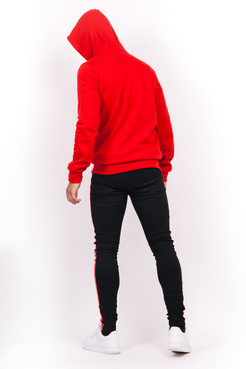 Sweat capuche grand logo rouge