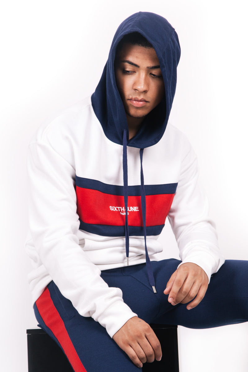 Sweat capuche tricolore blanc rouge bleu