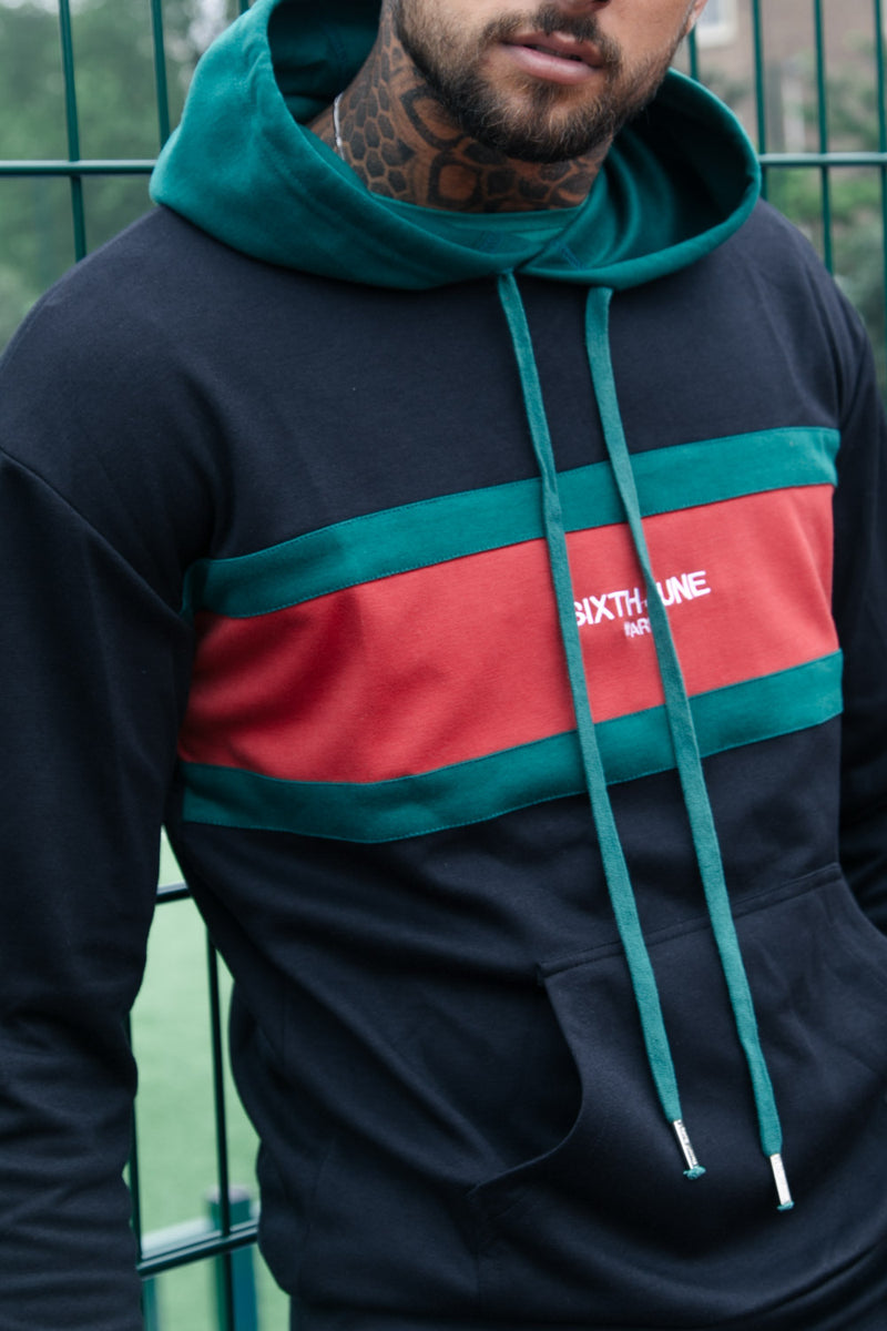 Colour-Block Hoodie Black Red Green