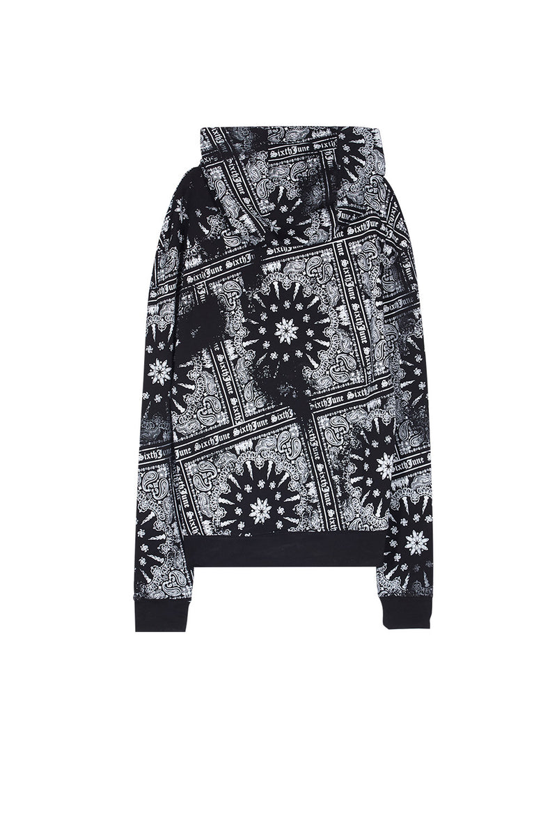 Sweat capuche all over bandana Sixth June noir