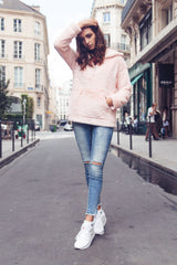 Sweat polaire oversize rose