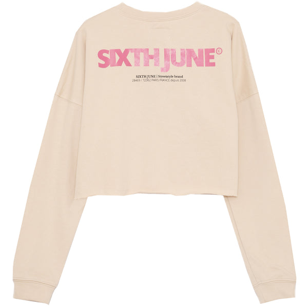 Sweat-shirt court imprimé logo beige