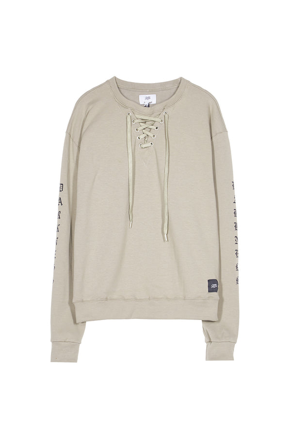 Sweat lacets typo gothique Sixth June beige