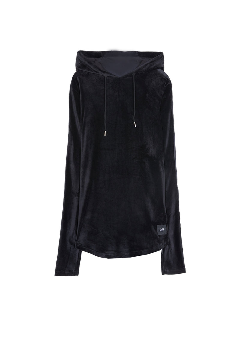 Sweat capuche velours noir