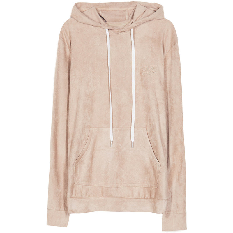 suede hoodie with bands