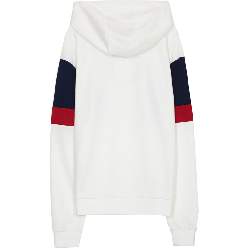 Three Coloured Sleeves Hoodie White Red Blue