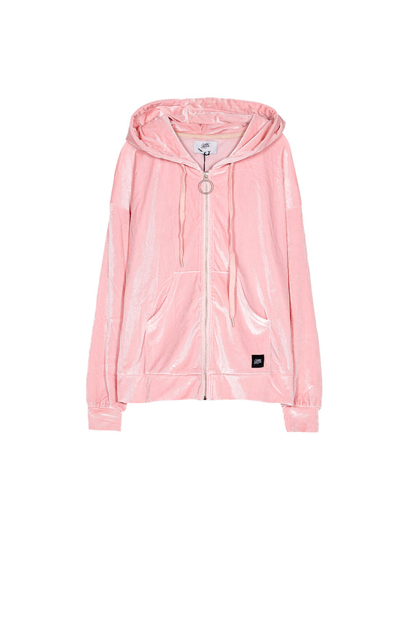 Sweat capuche velours zippé Sixth June rose