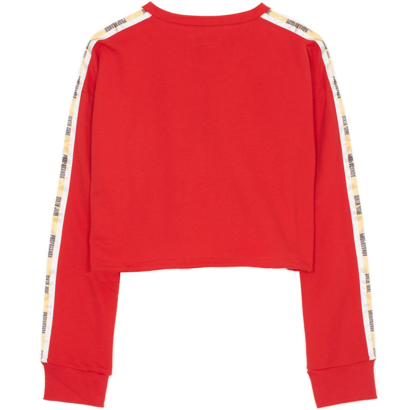 Sweat crop top bandes Propaganda rouge